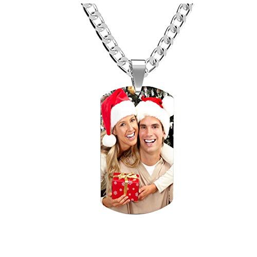 DIY Dog Tag Necklace Personalized Photo Necklace Customized Necklace Pendant Necklace for Father(Silver 16)