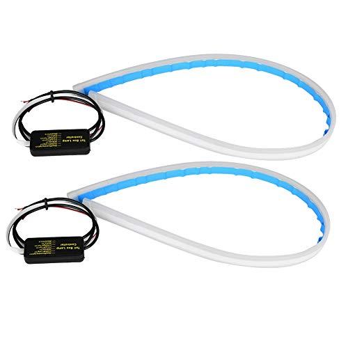 EBTOOLS 2pcs Bande de Clignotant DRL Indicateurs de Moto Feux Clignotants Clignotant Flexible Bleu 60cm