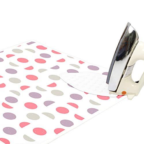 Encasa Homes Alfombrilla de Planchar (120 x 70 cm) con Acolchado de 3mm y Soporte de Plancha de Silicona para Planchar a Vapor sobre la Mesa o la Cama - Resistente al Calor, portátil - Luna Rosa