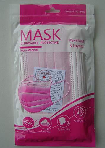 10 x Mundschutz Masken rosa im Blister Einweg Mund Nase Gesicht 3 lagig Behelfsmaske Blister (10) (17,4 x 9,8 cm, rosa, 10)
