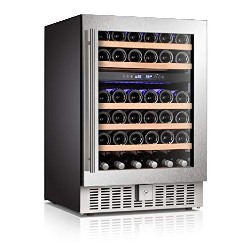 Antarctic Star 24' Wine Cooler Beverage Refrigerator Beer Mini Fridge 46 Bottles Dual Zone Built-in Freestanding Stainless Steel Double-Layer Tempered Digital Temperature Memory Function Glass Door