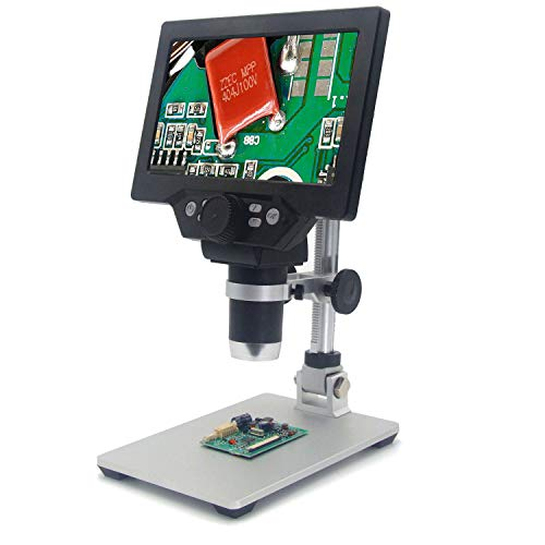 Digital Microscope with 7 inch LCD Screen 12MP 1080P 1-1200X Continuous Magnifying Scope 8Led Lamp for Illumination Digital USB Microscope Camera for Soldering,Coin Collection,Gemology