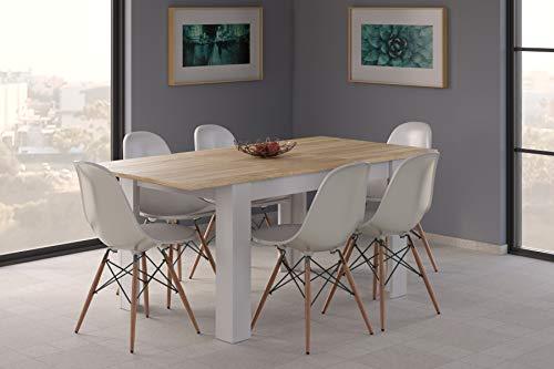 Dmora Tavolo pranzo allungabile, legno bianco e rovere-cm. 140/190 x 78 x 90, UNICO