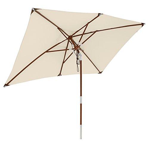 anndora® Sonnenschirm 200 x 300 cm eckig Gartenschirm Knicker wasserabweisend - mit Knickgelenk Natural