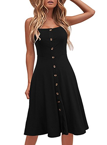 Berydress Women's Casual Beach Summer Dresses Solid Cotton Flattering A-Line Spaghetti Strap Button Down Midi Sundress (L, 6046-Black)
