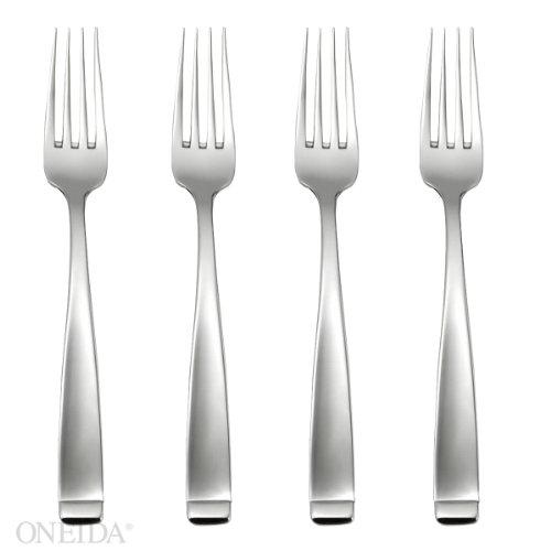 Oneida Forte Fine Flatware Dinner Forks, Set of 4, 18/10 Stainless Steel