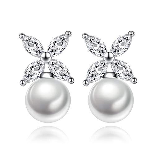 Vvff Perla De Plata De Cristal Brillante Pendientes De Mujer Joyería Femenina Cumpleaños De Las Mujeres Envío De La Gota