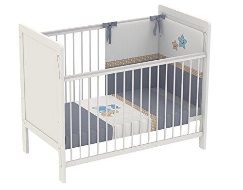 Polini Kids Kinderbett Babybett 120 x 60 cm weiß 2-fach höhenverstellbar