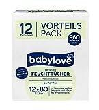 babylove Vorteils Pack Feuchttücher sensitive, 12 x 80 Stück, 960 Stück mandel-extrakt parfümfrei