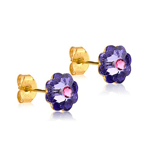 24K Gold Coated Stud Earrings hypoallergenic for sensitive ears 14karat gold coated gifts by clecceli(Purple)