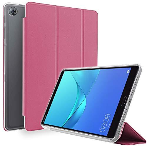 """NewTop - Funda compatible con Huawei Mediapad M5 de 8,4"""", funda Flip Ori Case ultra fina y ligera, soporte protector TPU y piel sintética violeta fucsia"""