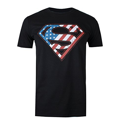 DC Comic Superman Flag T-Shirt, Noir (Black BLK), S Homme