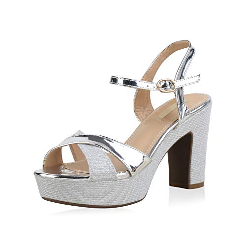 SCARPE VITA Damen Plateau Sandaletten Glitzer High Heels Metallic Party Schuhe 173353 Silber 39