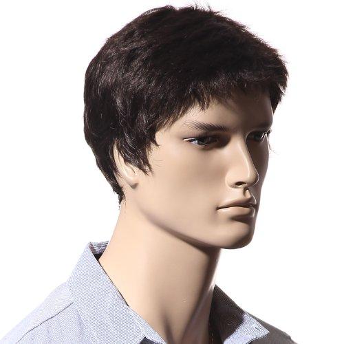 SONGMICS WMS123, parrucca da uomo, capelli corti, lisci, resistente al calore, per costumi di carnevale e per feste cosplay, colore castano