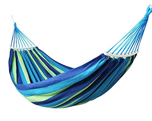 Wzrx7 - shop Prevención de reinversión a Rayas Prevención Lona portátil Una o Doble Hamaca Que cuelga Cama para Acampar para Acampar al Aire Libre Interior (a-RCO Iris) (Color : Blue, Size : Double)