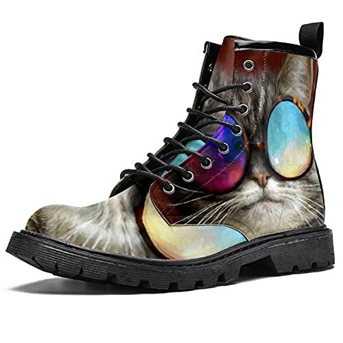 Gafas de gato para mujer, punta redonda, impermeable, botín con cordones de alta parte superior, botas de combate de trabajo, Gafas de gato, 40 2/3 EU