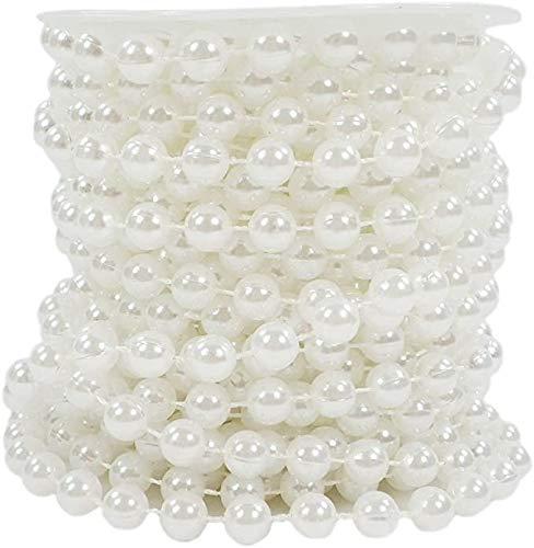 Sepkina Perlenband Perlenkette Perlengirlande Perlenschnur Dekokette Tischdeko Weihnachten Advent Hochzeit Deko Soft White Weiss Perlmutt (S-P6-002-10m) (0,70€/m)