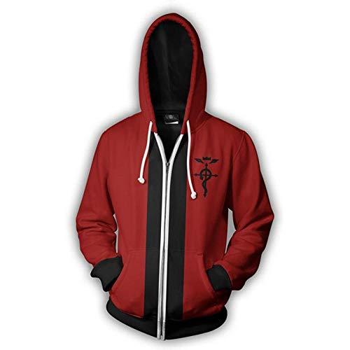 Kapuzenpullover,Trends Unisex Kapuze Pullover Anime Fullmetal Alchemist 3D-Druck Männer Reißverschlüsse Sweatshirts Kleidung Oberbekleidung Rot M