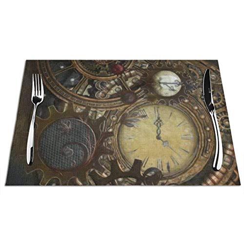 N / A Hochwertige Platzmatten,Küche Platzset,Restaurant Platz-Matten Für Küche,Hitzebeständig Tischmatten,Steampunk Uhren Tischsets Stilvolle Tischsets 6Er-Set