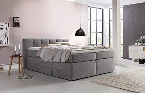 Möbelfreude® Andybur boxspringbed 200x200cm lichtgrijs H2/H3 | 7-zone pocketvering matras & visco-topper | 90 cm hoog hoofdeinde ideaal voor schuine daken + bedkast voor opbergruimte