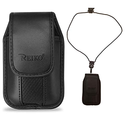Around The Neck Black Leather Case with Pinch Clip for ZTE z432 Phone