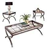 BOWERY HILL Metal and Glass 3 Piece Coffee and End Table Set in Silver