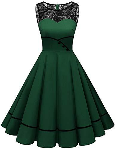Bbonlinedress Damen Cocktailkleid Rockabilly Spitzenkleid 50er Retro Vintage Faltenrock Elegant Ärmellos Rundhals Dark Green M
