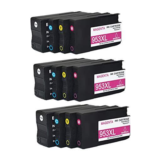 CMDZSW Cartucho de Tinta Compatible 953 953XL para HP Pro 7740 8210 8218 8710 8715 8718 8719 8720 8725 8728 8730 8740 Impresora para HP953 (Color : 3set)