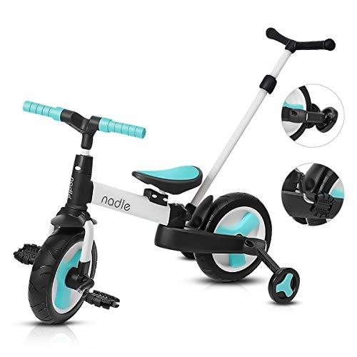 OLYSPM 4 in 1 Laufräder Kinder Dreiräder Lauflernhilfe,Vergrößerter Körper,faltbar Kinderlaufrad,mit Schubstange Kinderdreirad,für Kinder ab 1 Jahre bis 6 Jahren(Hellblau Mit Schubstange)