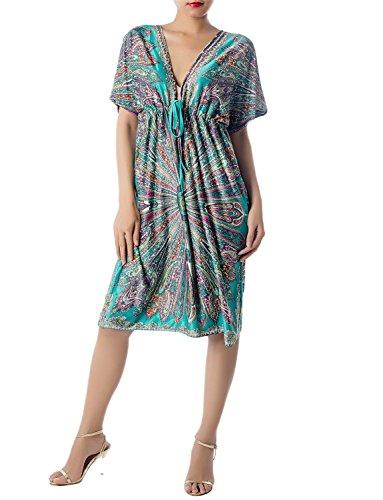 iB-iP Mujer Saco Floral Holgado V Profundo Escote Relajado Mini Vestido Túnica, Tamaño: 46, Mar Verde