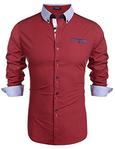 Burlady Herren Hemd Langarm Freizeithemd Hemden Stehkragen regular fit Knopfleiste für Männer Rot XL