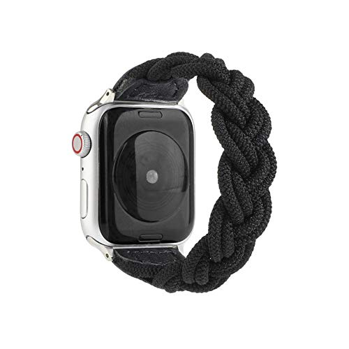 Fashion For Apple WatchhSEバンドシリーズ用弾性織りナイロンストラップ65 43ファッションブレスレット40mm44mm 38mm 42mmFor i For iWatchリストベルト用-Black-44mm,150mm length