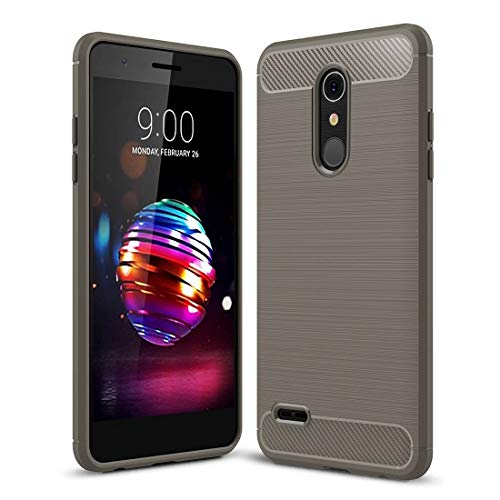 YUNCHAO Caja del teléfono móvil For LG K10 (2018) Cepillado Textura Fibra de Carbono a Prueba de Golpes TPU Funda Protectora Trasera Estuche Protector (Color : Grey)