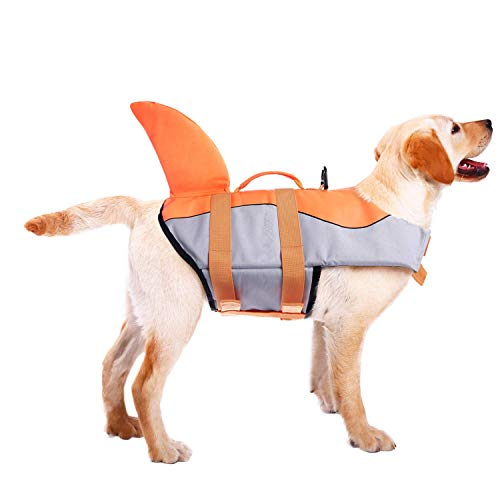 ASENKU Dog Life Jacket Ripstop Pet Floatation Vest Saver Swimsuit Preserver for Water Safety at The Pool, Beach, Boating
