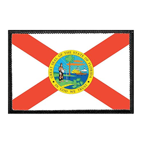 Florida State Flag - Color Morale Patch   Hook and Loop Attach for Hats, Jeans, Vest, Coat   2x3 in   by Pull Patch