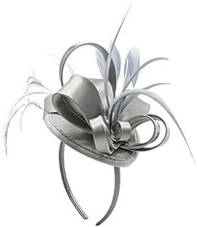 Fascinator Hats Feather Satin Tea Party Hat Wedding Church Bridal Headwear for Women Girls