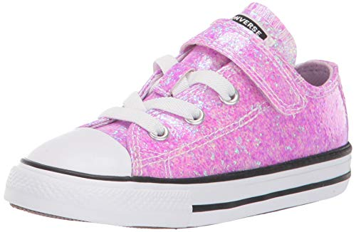 Converse Girls' Chuck Taylor All Star Glitter Velcro Low Top Sneaker, Lilac Mist/Black/White, 2 M US Infant