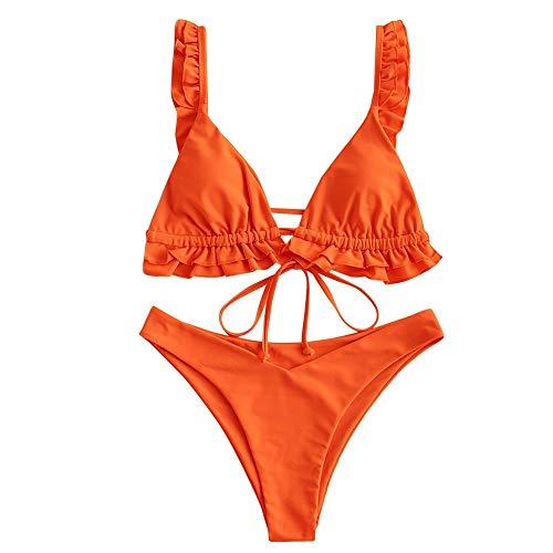 ZAFUL Set Bikini Imbottito da Donna, Cravatta con Volant a Triangolo, Costume da Bagno Bikini a...