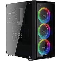 Aerocool Quartz Revo - Caja de Ordenador (Cristal Templado, 3 Ventiladores Frontales Anillo LED RGB, 14 Modos de iluminación, Ventilador Trasero 12 cm, USB 3.0) Color Negro