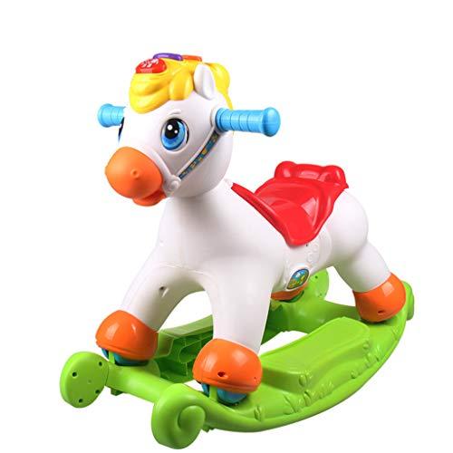 Cheval à Bascule Coulissant Petit Cheval en Bois Chaise à Bascule en Plastique de Double Usage pour bébé garçon avec Musique avec boîte de Rangement