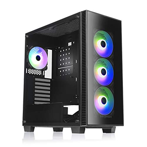 corpuwn Desktop Gaming Computer Tower Mid Tower ATX PC Case with 120MM RGB Fans Black Computer Chassis Tempered Glass Micro ATX Mini ITX Computer Case Black EHP 750