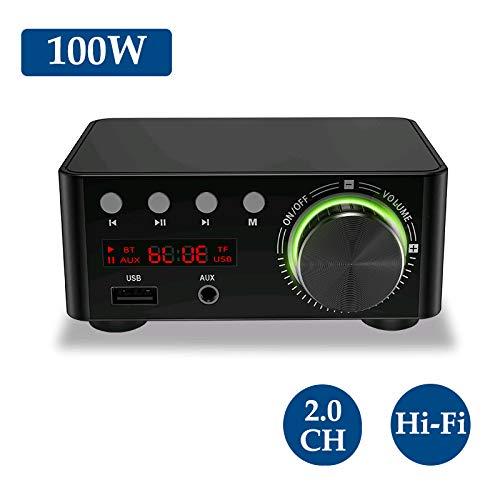 KKmoon HIFI BT5.0 Audio Verstärker,100W Zweikanal Sound Power Audio Receiver Stereo AMP USB AUX für Heimkino USB TF Kartenspieler Sliver