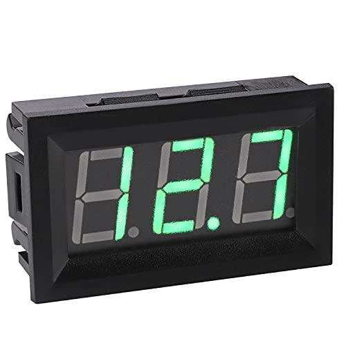 12 Volt Digital Voltmeter, DROK 0.56″ DC 3-30V 12v Voltage Tester Gauge Green Bright LED Display Two Wires Volt Meter Detector for Solar Battery Monitor Checker Car Motor Panel Mount