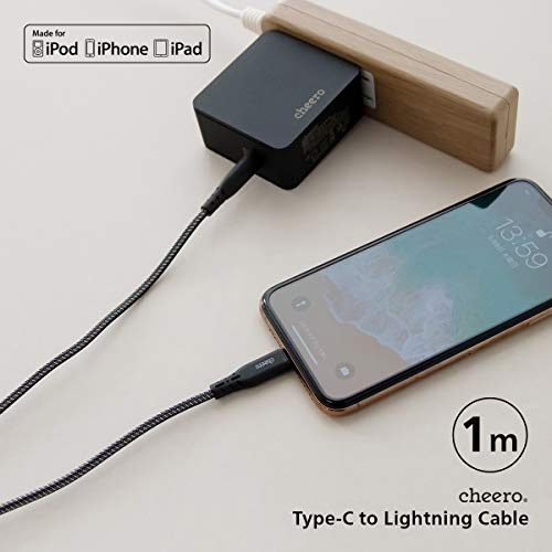 cheeroType-CtoLightningCable1mブラック×シルバーPowerDelivery対応iPhone/iPad/iPod充電可能(CHE-257-BS)