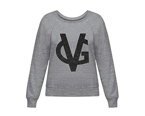 VALENTINA GIORGI - VG – Miss VG – Sudadera de mujer gris con logotipo VG de tela Glitter negro, cuello redondo, talla S Slim | Ropa de mujer para un estilo juvenil y moderno