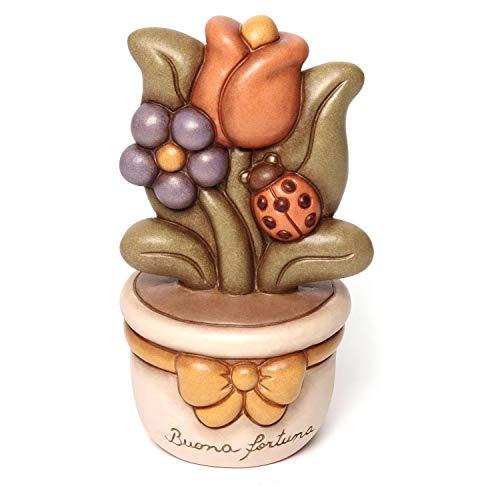THUN - Vasetto Decorativo con Tulipano e Coccinella - Soprammobile - Bomboniere e Accessori per la Casa - Formato Medio - Ceramica - 16 cm h