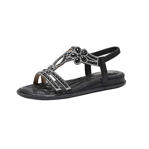 YOUJIAA Women's Flat Sandals Floral Rhinestones Bohemia Breathable Soft Elastic Ankle Strap Sandals (Black, CN 38 / EU 37)