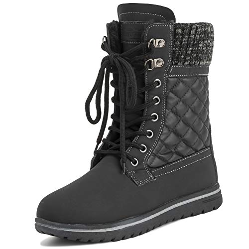 Womens Quilted Short Snow Winter Faux Fur Warm Durable Waterproof Boots - 6 - BLK39 AYC0528