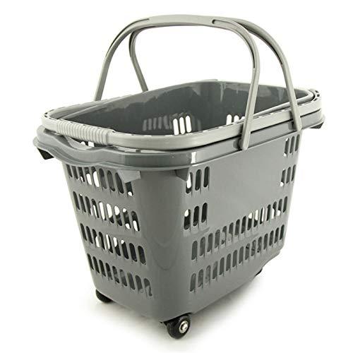 WJCRYPD Cesta De Almacenamiento Multifuncional Carretilla De Plástico Cesta De Compras con Ruedas Cesta De Compras Alameda De Compras Supermercado Comodidad Tienda De Compras Cesta Qf Shop