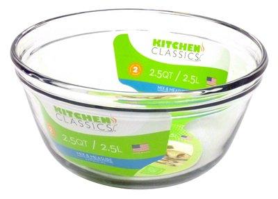 Kitchen Classics 195-81575LIB Mixing Bowl, Tempered Glass, 2.5-Qt. – Quantity 6